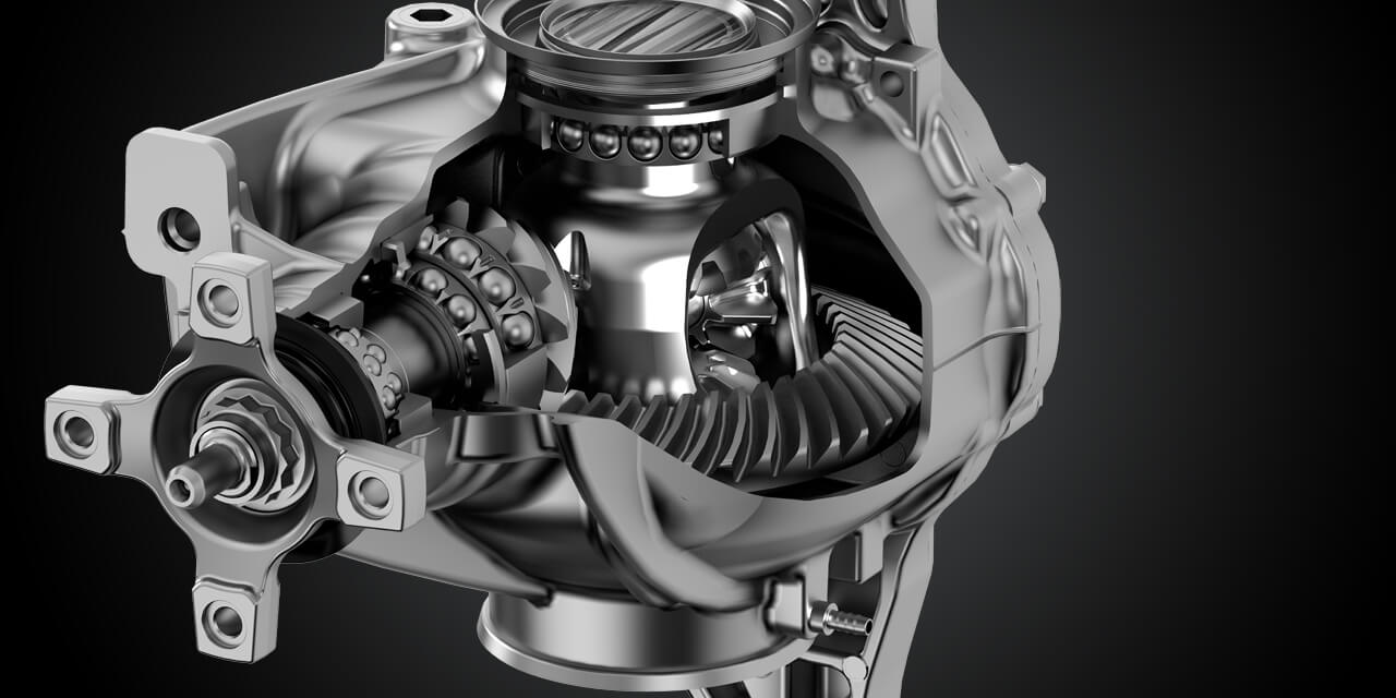 mercedes, benz, differential, 3d, technical, technic, chrome, steel, cad