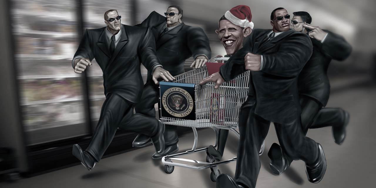 obama, barack, president, shop, shopping, supermarket, cart, caricature