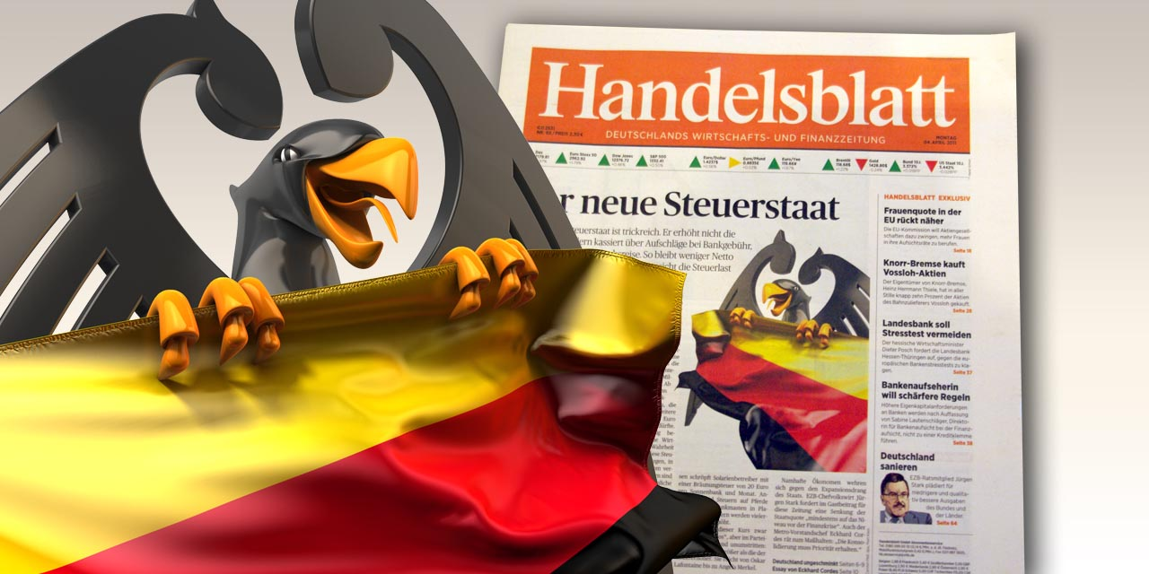handelsblatt, state, eagle, germany, flag, cover, newspaper
