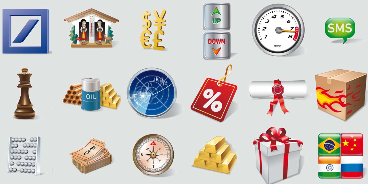 deutsche, bank, icon, icons, chess, gift, present, gold, oil, compass, flags